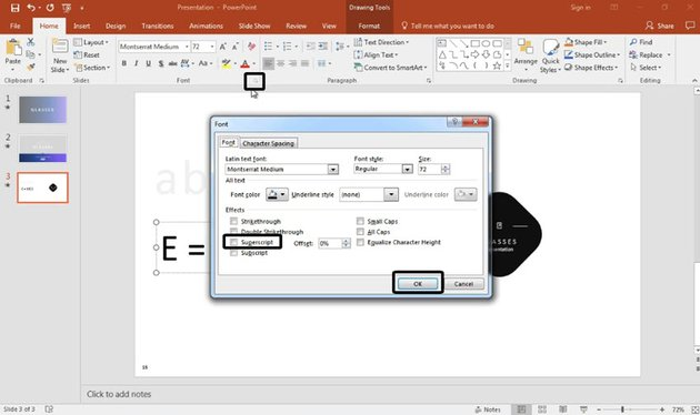 Apply the superscript in PowerPoint