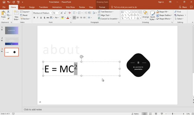 Text is superscripted in PowerPoint