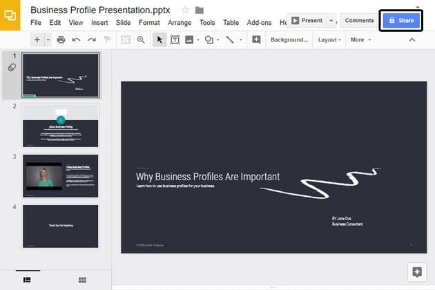Google Slides online presentation