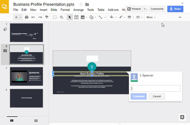 Empty comment in Google Slides