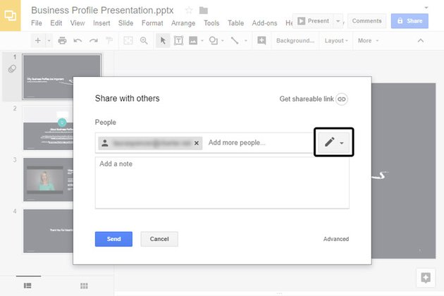 Share your online presentation through email