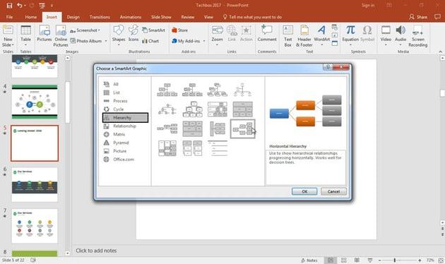 Choosing a SmartArt Graphic
