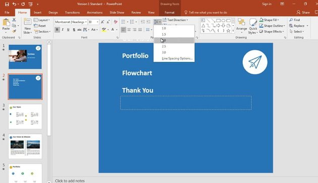Adjusting a PowerPoint table of contents