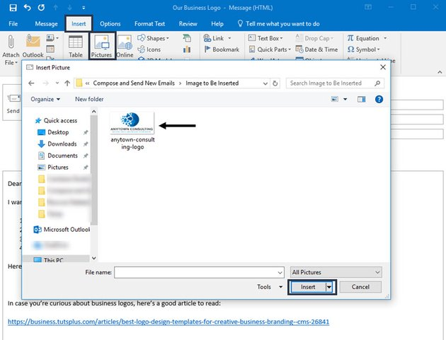 Inserting an image into an MS Outlook message