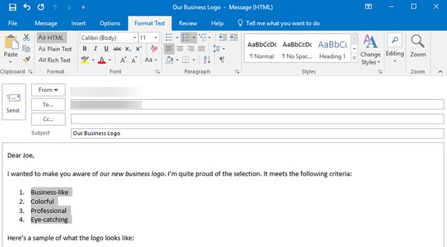 Add formatting to MS Outlook Email