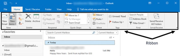 MS Outlook Ribbon