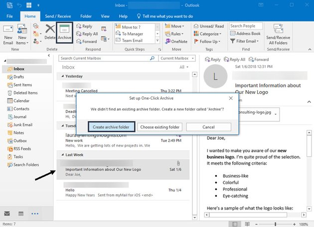 Archive icon in Outlook