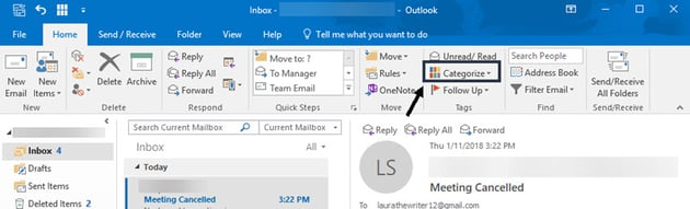 Microsoft Outlook Categorize icon