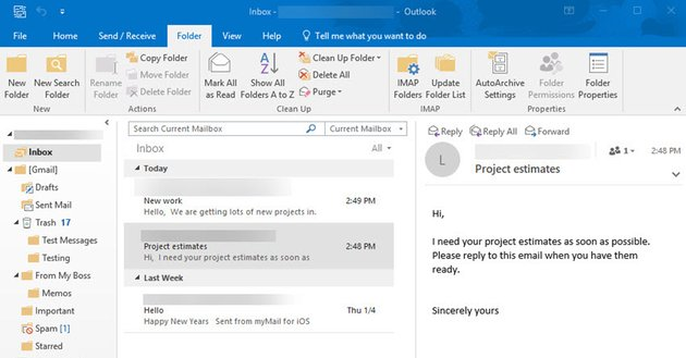 Email ready to organize in Outlook