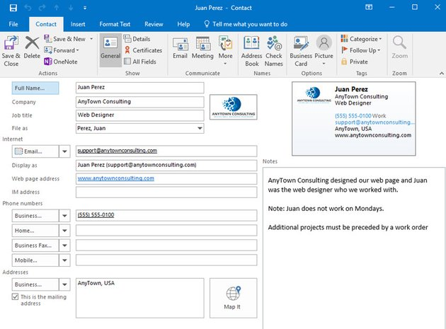 MS Outlook contact card with image