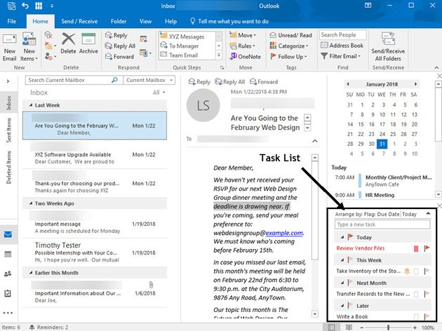 Email inbox with task list visible