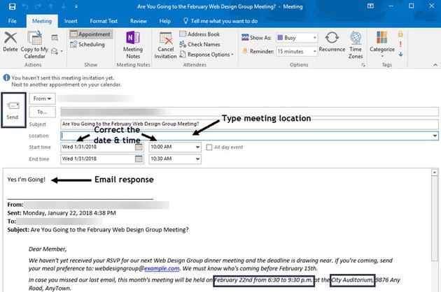 New Meeting from email message