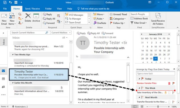 Dragging an email message to your task list