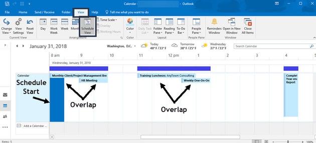 Schedule view of MS Outlook calendar