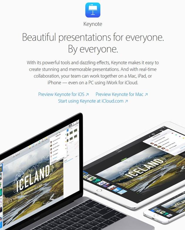 Keynote presentation software for Mac