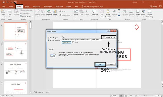 Insert Word content into PowerPoint