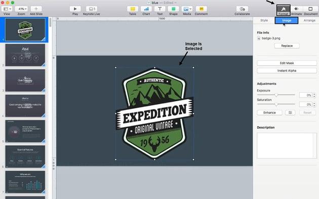 Intant Alpha Keynote Image Tab
