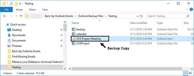 Backup email file
