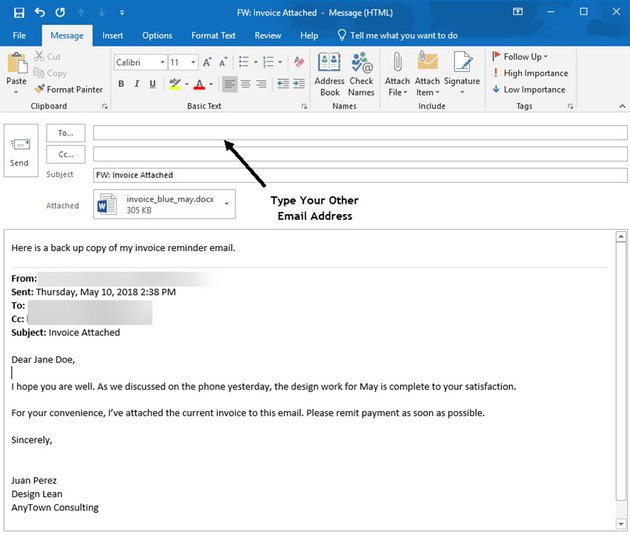 Choose the email address where you send the message