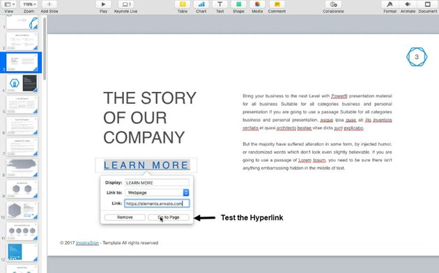 Test the Keynote web page hyperlink