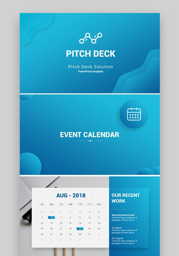 Pitch Deck Solution with PowerPoint Calendar Template