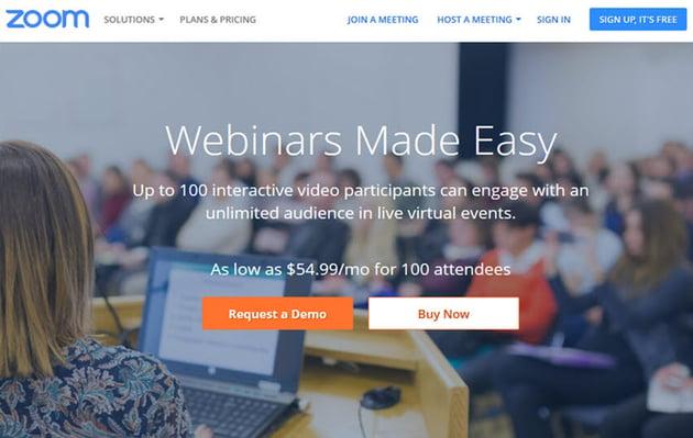 Zoom online webinar software
