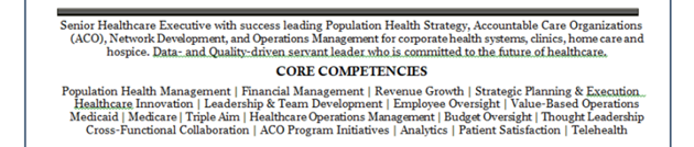 senior healthcare combination resume sample