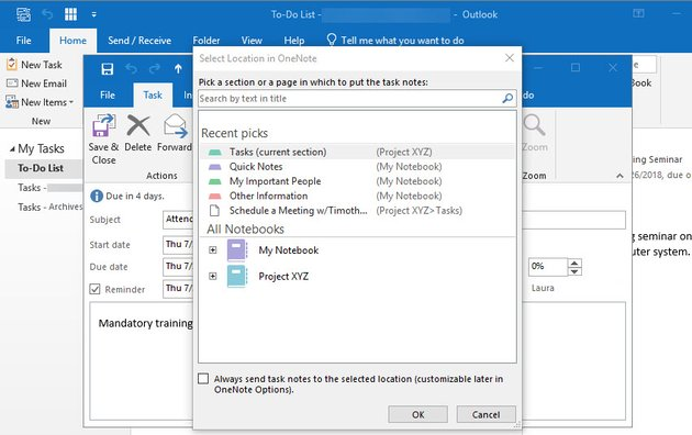 Select location in OneNote