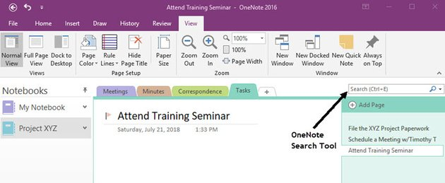 Search tool in OneNote