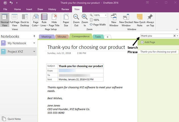 Using the search tool in OneNote