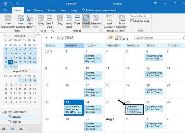 MS Outlook Calendar