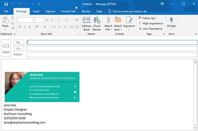message with Outlook email signature