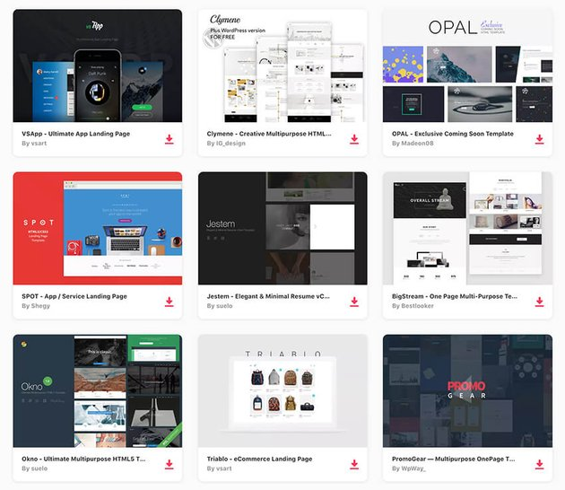 HTML landing page templates