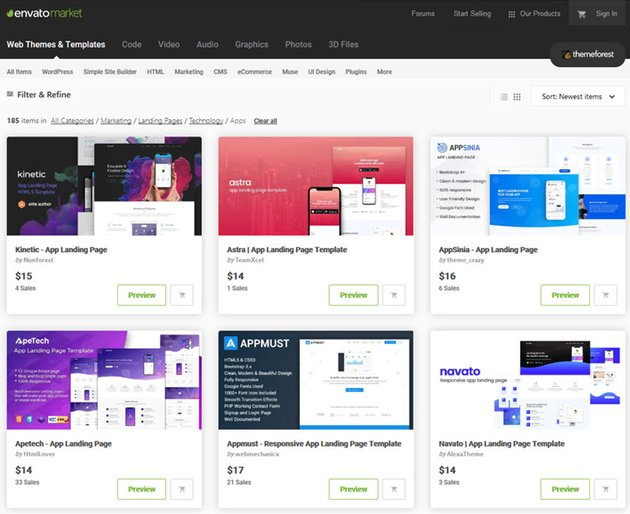 app landing page templates on ThemeForest