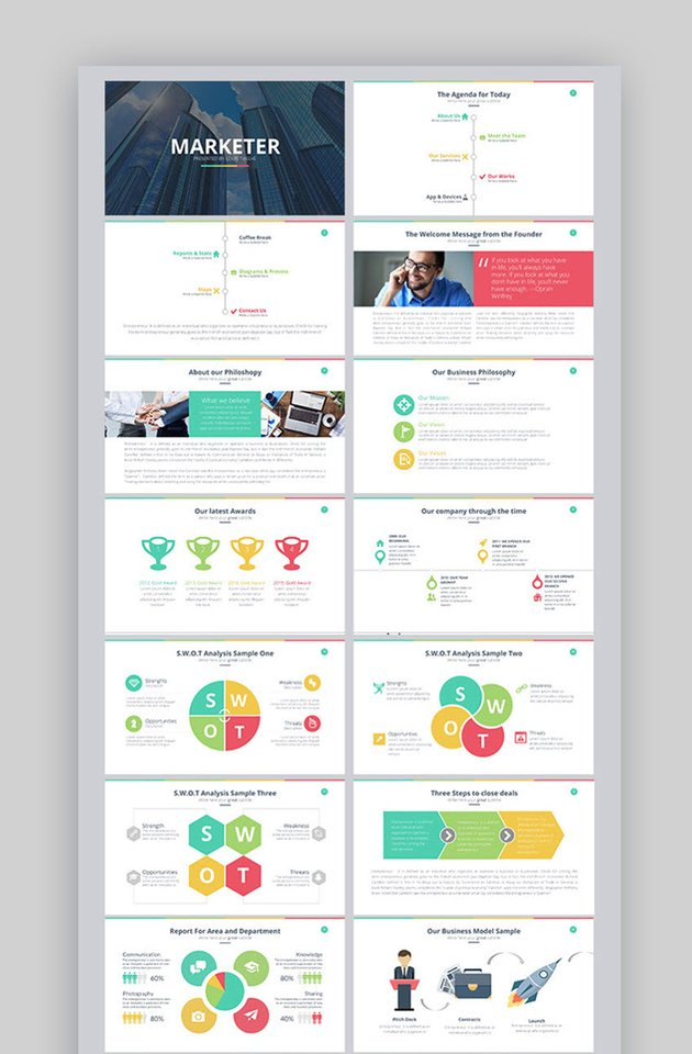 marketer template with powerpoint flowcharts