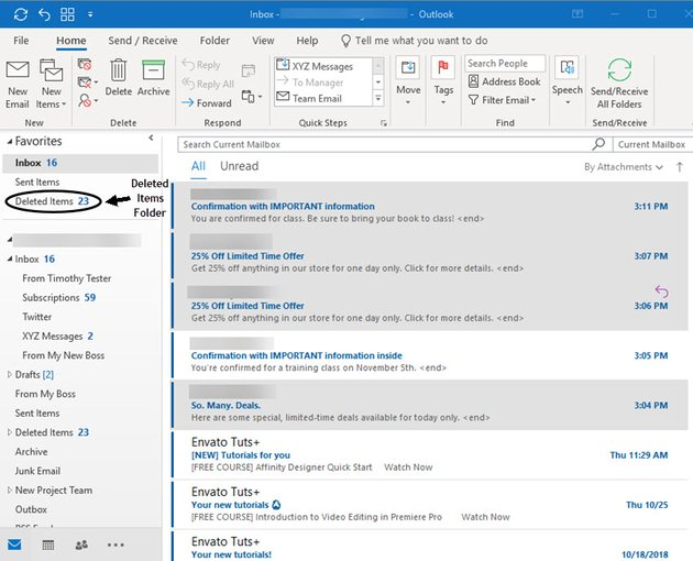 selected email messages