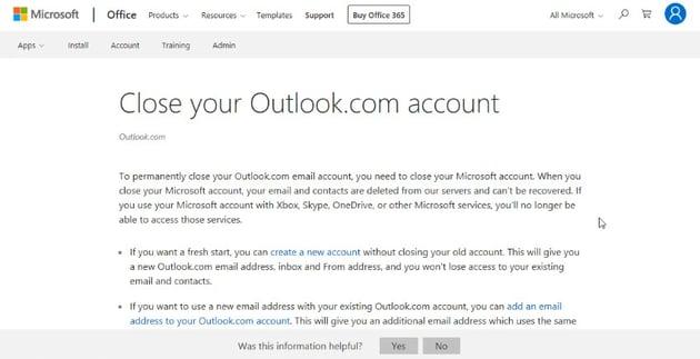 microsoft account closure page