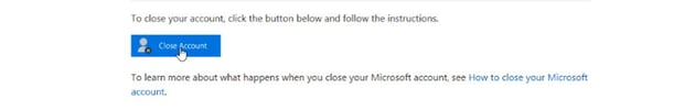 close microsoft account button