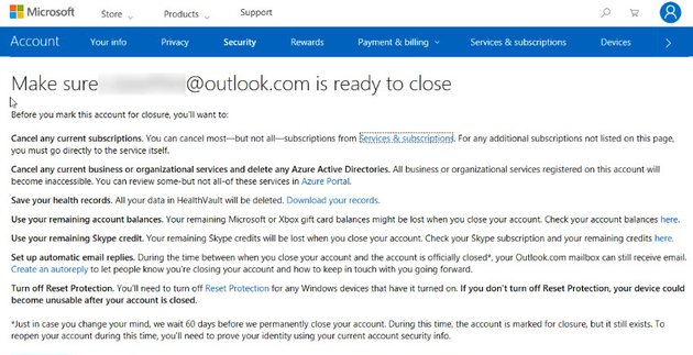account closure warning screen