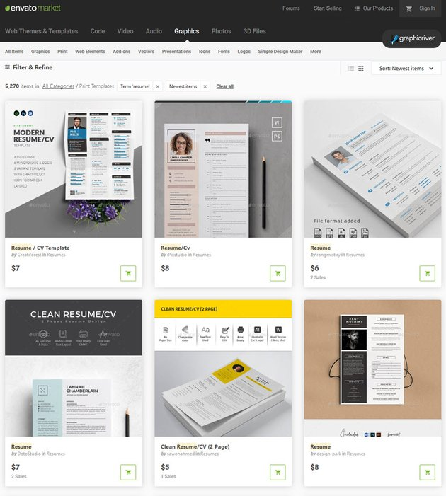 GraphicRiver resume styles