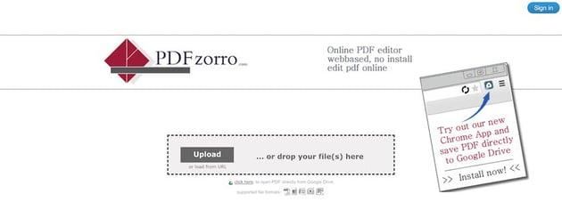 PDFzorro web-based PDF editor