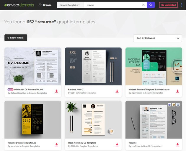 awesome resume templates from Envato Elements