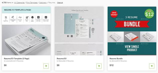 resume templates in GraphicRiver