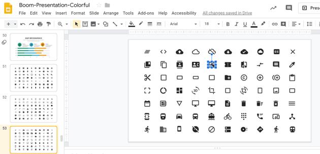 Change icons on Google Slides infographic