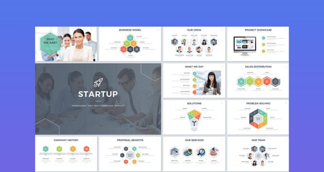 Startup company org chart in PowerPoint