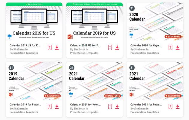 PowerPoint calendars on Elements