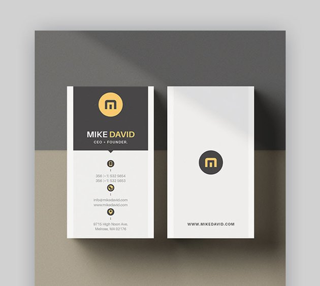 Vertical Business Card Template with PSD Template