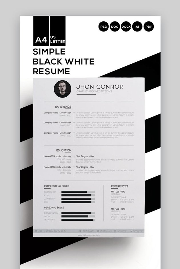 Simple Resume - In Black and White