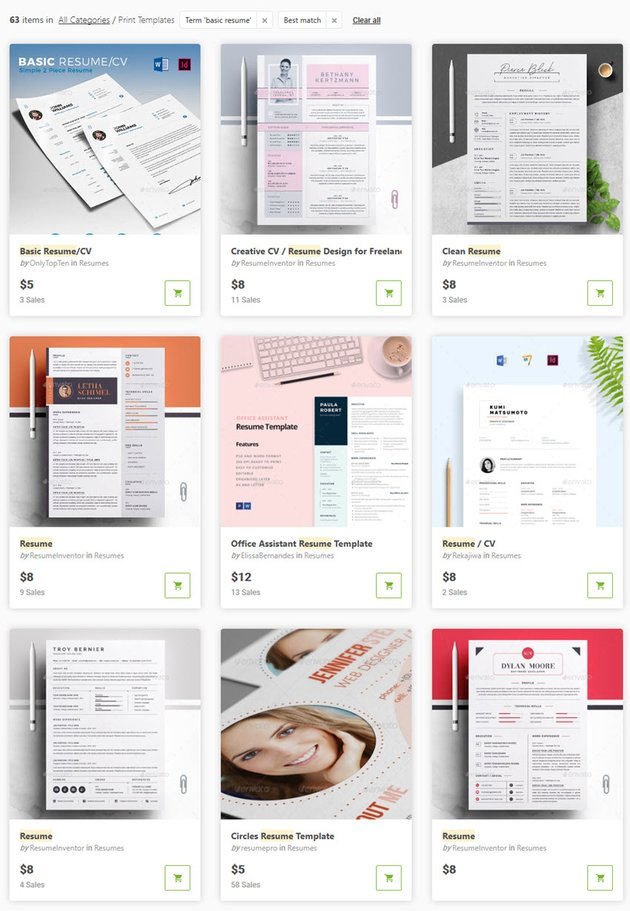 basic resume templates from GraphicRiver