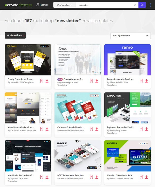 email newsletter templates from Envato Elements